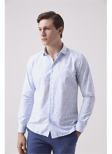TWN Slim Fit Baskılı Gömlek Mavi